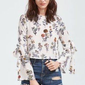 Love & Other Things White Floral Bell Sleeve Top